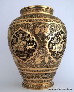 finely engraved persian qajar esfahan brass galam zani vase