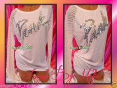 ❤️1 DAY #auction &  STOREWIDE #SALE #ebay #VSPINK ❤️NEW Victoria's Secret PINK S WHITE BLING Script Sequins ZEBRA CREW T Shirt Top