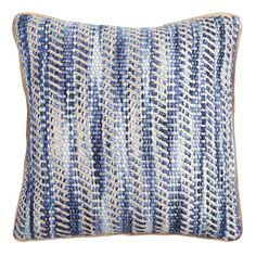 Give your space a textural update with our woven throw pillow, featuring an intricate multishade colorplay, simply finished with neutral jute trim. Navy Blue Throw Pillows, Shades Of Light Blue, Black Throws, Small Room Decor, Natural Pillows, Inspired Homes, Jute, Decorative Pillows, Diy