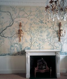 Sanctuary: Chinoiserie wallpaper, love the pink and gray