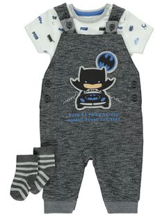 DC Comics Batman Dungarees Bodysuit and Socks Outfit Batman Baby Clothes, Socks Outfit, Batman Dress, Nursery Accessories, Baby George, Toddler Outfits, Baby Outfits, Baby Development, Asda