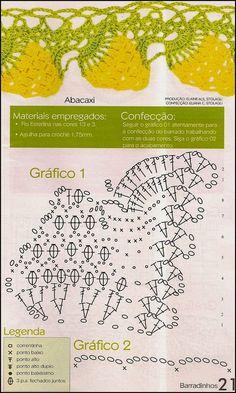 Barrado De Croche Modelo Abacaxi Com Receitas - This would be cute on kitchen towels Crochet Doily Diagram, Crochet Lace Edging, Crochet Borders, Thread Crochet, Crochet Trim, Filet Crochet, Love Crochet, Beautiful Crochet, Irish Crochet