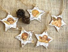Christmas Ornaments Angels Star Ornaments Holiday by ForesteDiOro