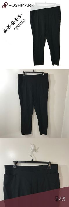 Akris Punto 10 Navy Blue Pants Stretch Skinny Brand:  Akris Punto.    Color: Navy Blue.    Tag Size: Misses 10   Waist:  32 in.    Hips:  40 in.    Rise:  10 in.    Inseam length:  27 in.    Materials:  Cotton Blend   Care Instructions:  Hand Wash, Line Dry Akris Punto Pants Skinny