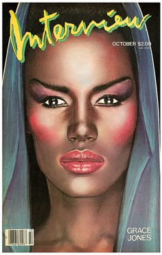 Obvious History: The time Grace Jones was Andy Warhol's wedding date - Interview Magazine Grace Jones, Ms Jones, Andy Warhol, Top Models, Mode Bizarre, 1980s Makeup, Swatch, Photoshop, Fashion Cover