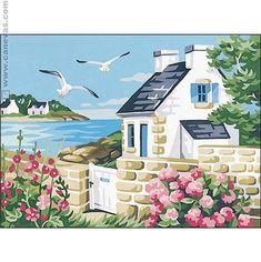 """Cottage at the Water's Edge"" by John Clark Watercolor Landscape, Watercolor Paintings, Watercolors, Paris Kunst, Dream Pictures, Unicorn Pictures, Caribbean Art, Natural Scenery, Coastal Art"