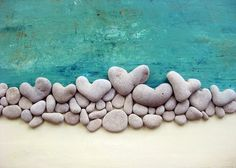 3D Handmande wall decor gift - actual heart shaped beach stones
