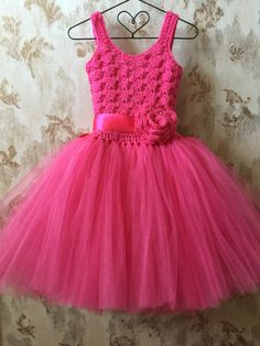 Hot pink flower girl tutu dress is perfect for flower girls, special events or parties. I crochet this dress with soft bright pink yarn and hand tie three
