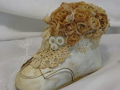Baby Shoe with Tea Bag Roses (tutorial on blog sidebar)