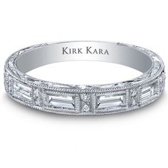 Kirk Kara Platinum hand-engraved wedding band from the Charlotte collection crafted with diamonds.