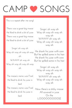CAMP SONG PRINTABLES! - Hi hi internet friends!   I created a few printables to use with my Girl Scout troop to laminate and send home with them to help the practic...