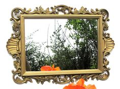 Vintage Homco Gold Wall Mirror Scrolling Acanthus Leaves Flower Hollywood Regency Open Work Home Decor