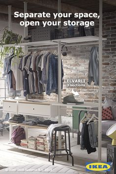 Need to separate a room and store your things? Check out the ELVARLI storage system for a sleek and open design.