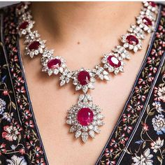 Sumptuous Burmese rubies, shown off to dazzling effect - this impressive necklace will be offered in on 14 May. The central pendant… Ruby Necklace, Ruby Jewelry, Dainty Jewelry, Turquoise Jewelry, Bridal Jewelry, Diamond Jewelry, Jewelry Sets, Vintage Jewelry, Fine Jewelry
