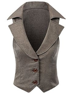 Doublju Women Wide Collar Stretchy button Vest, I ❤️vests Vest Outfits, Cool Outfits, Fashion Outfits, Langer Mantel, Shirt Bluse, Business Fashion, African Fashion, Blazers, Casual Shirts
