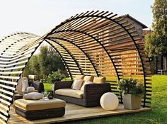 Long-term solution for sunshade, beautiful wooden structure and stone patio ideas!