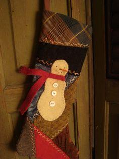 Primitive Snowman Stocking