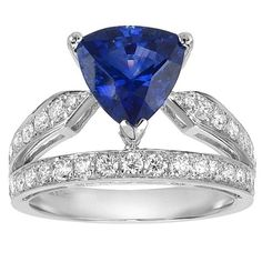 Triangular Sri Lanka Blue Sapphire Brilliant White Diamond Gold Ring