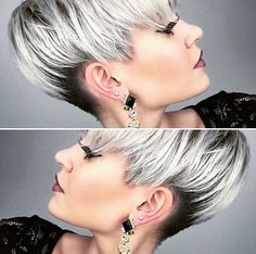Modern short hairstyles These great hairstyles are very popular in Curious? Short Grey Hair, Short Hair Cuts, Short Hair Styles, Pixie Cuts, Short Pixie, Modern Short Hairstyles, Funky Hairstyles, Layered Hairstyles, Pixie Color