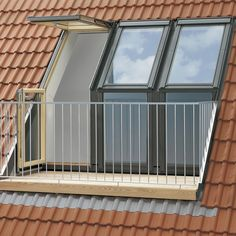 Create a stunning feature in your home with the high quality, natural pine VELUX Roof Terrace. The VELUX Roof Terrace is made of high quality natural pine with a clear lacquer finish and would be an… Roof Balcony, Balcony Window, Attic Window, Roof Window, Tiny Balcony, Window Planters, Attic Loft, Loft Room, Attic Rooms