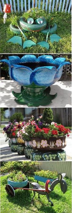 Use old tires.Yard Art n Awesome Planters! Tire Planters, Garden Planters, Flower Planters, Garden Crafts, Garden Projects, Tire Craft, Tire Garden, Tyres Recycle, Recycled Tires