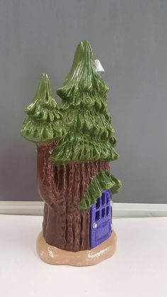This ceramic fairy house is perfect for your fairy garden! Add it to your collection or start a brand new one! This adorable house is sure to attract fairies or gnomes!  This measures approximately 8.5 inches.