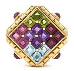*An 18 Karat Yellow Gold, Ruby and Multi Gemstone Brooch, Bulgari,