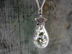 Long Necklaces – Dried SEA LAVENDER Teardrop Necklace – a unique product by VillaSorgenfrei on DaWanda