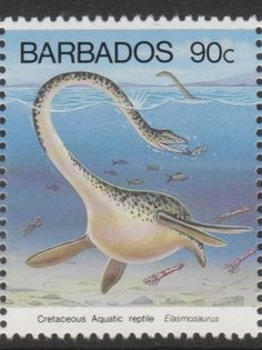 Barbados 1993 stamp Elasmosaurus  Again, Elasmosaurus pretty much kept its neck straight and move it from side to side.  It couldn't coil its neck like a snake.