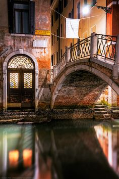 Beautiful Door and Bridge, Venice. Loved walking the streets at night, such a pretty place.