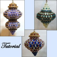 Crystal Delight Beaded Ornament Pattern by Paula Adams AKA Visions by Paula at… Beading Patterns Free, Jewelry Patterns, Bead Patterns, Beaded Christmas Ornaments, Handmade Christmas Decorations, Christmas Bells, Beaded Ornament Covers, Beading Projects, Beads And Wire