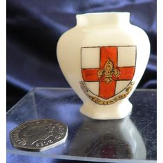 S. Hancock Crested China Hexagonal Vase - City Of Lincoln Crest