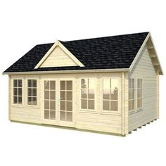 Featuring a popular design with multiple windows, this cottage-style kit cabin allows abundant natural light inside. This cabin makes an excellent pool house, guest house, summer house