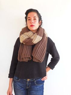 Brown big cozy scarf with light stripes warm long and by SARIGG, $64.00