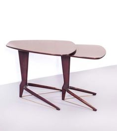 Ico Parisi; Rosewood and Brass Nesting Tables, 1950s.
