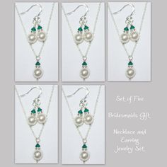 Set of Five  Swarovski White Pearl and by alexandreasjewels, $70.00