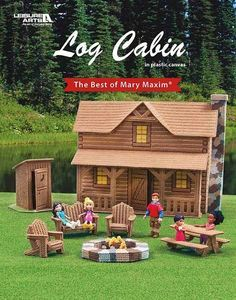 Log Cabin eBook - Log Cabin from Leisure Arts presents a fun addition to the Best of Mary Maxim collection of plastic canvas designs. This playful set will transport kids on a make-believe vacation of camping in the woods. The two-story cabin features a rustic front porch and rock chimney. From the back, there is an open view into the interior (with 3-D furniture) of the living room, kitchen, and upstairs bedrooms. A coordinating lawn set has a fire pit, picnic table, Adirondack chairs, and…
