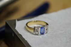 Tanzanite and diamond ring.Oct 2015 our workshop in Dublin Dublin, Sapphire, Workshop, Jewelry Making, Diamond, Rings, How To Make, Atelier, Work Shop Garage