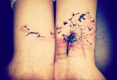 Dandellion and flying birds tattoo on wrist