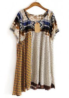 Grey Patchwork Geometric Irregular Cotton Dress