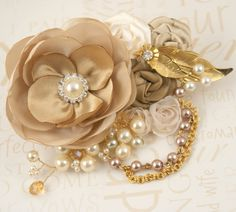 Gold Hair Clip, Tan, Beige, Champagne, Ivory, Fascinator, Wedding Clip, Vintage…