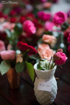 Pink rose wedding flowers! MODERN GARDEN WEDDING IN COLOMBIA www.elegantwedding.ca