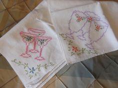 Vintage Cross Stitched Flour Sack Towels Lot by #PaulasVintageAttic, $8.99  #VintageLinens #VintageTowels