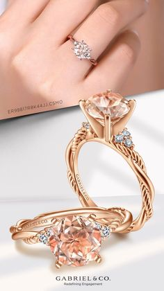 Delicate strands of smooth and rope textured 14k rose gold form the captivating criss crossed band of this warm blush toned engagement ring. ER98817R8K44JJ.CSMO#GabrielNY #UniqueJewelry #EngagementRings #TwistedEngagementRing #MorganiteEngagementRing #PlatinumEngagementRing #RoseGoldEngagementRings Perfect Engagement Ring, Rose Gold Engagement Ring, Round Cut Diamond, Round Diamonds, Gabriel Jewelry, Morganite Engagement, Fine Jewelry, Unique Jewelry, Jewelry Branding