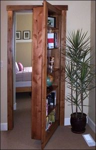 Hidden doors This company makes cabinets, bookshelves and anything you can think of that fits your existing doorjambs thus hiding the door (and also making use of the space). @ Home Ideas Worth Pinning