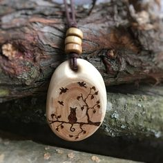 Wood burned necklace with cat on a branch - wood pendant, pyrography pendant, wood necklace, necklace, wood jewelry