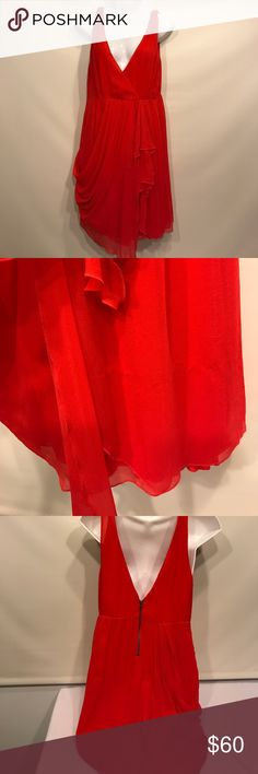 Alice + Olivia Base Silk Ruffled/Gathered Dress Alice + Olivia stunning red 100% silk dress with ruffles/gathering. Size medium. Great condition but does have a pull on the front that has been pulled back out. Alice + Olivia Dresses Mini