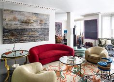 A spider sculpture by Louise Bourgeois and an Anselm Kiefer painting overlook the studio. At right, a Gérard Drouillet ceramic sculpture sits on a lacquered-wood side table; the vintage carpet is by Ernest Boiceau. Interior Inspiration, Design Inspiration, New York Style, Decoration, Home Remodeling, Furniture Design, Sweet Home, Couch, Interior Design
