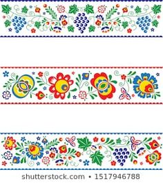 Find Vector Slovak Slovacko Folk Ornaments Strips stock images in HD and millions of other royalty-free stock photos, illustrations and vectors in the Shutterstock collection. Hungarian Embroidery, Vintage Embroidery, Machine Embroidery, Painted Plant Pots, Vintage Jewelry Crafts, Pattern Art, Vector Art, Diy And Crafts, Annie Sloan