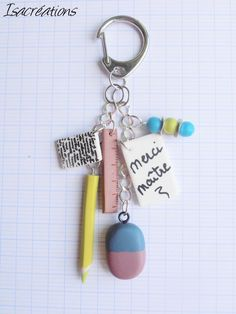 porte clefs pour maître d'école fait main anis : Porte clés par isacreations